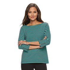 Women's Croft & Barrow® Ribbed Striped Top, Size: Small, Black