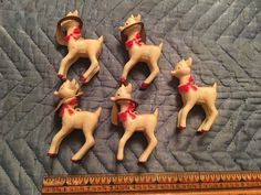 Vintage Bradford Products hard plastic Rudolph The Red Nosed Reindeer LOT of 5