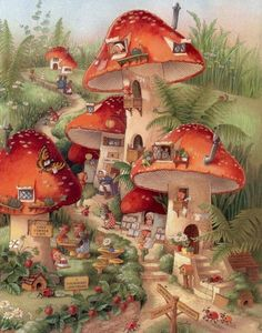 Illustration by Shirley Barber Art And Illustration, Creative Illustration, Fantasy Kunst, Fantasy Art, Art Fantaisiste, Mushroom Art, Mushroom House, Flower Fairies, Fairy Art