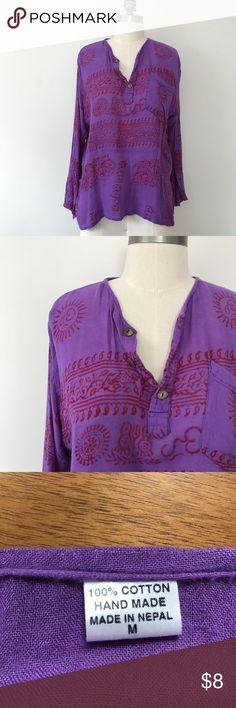 Handmade Blouse from Nepal Fantastic handmade printed blouse. $8 or make me a reasonable offer. Tops Blouses