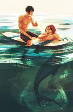 Merman and surfer Free! Iwatobi Swim Club Haru x Rin Fantasy Creatures, Mythical Creatures, Sea Creatures, Percy Jackson Zeichnungen, Arte Percy Jackson, Illustration Manga, Free Iwatobi Swim Club, Mermaids And Mermen, Merfolk
