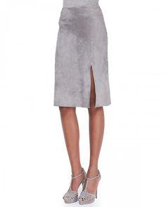 Ralph Lauren Women's Anastasia Suede Slit Skirt Collection Grey 6   Clothing