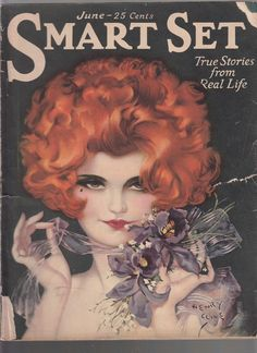 "June, 1925 ""Smart Set"" cover by Henry Clive. She's a redheaded dazzler with the flapper's best-friend (besides diamonds, of course), orchids."