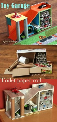 toy garage made from toilet paper rolls and cardboard boxes - toilet paper r. DIY toy garage made from toilet paper rolls and cardboard boxes - toilet paper r. - -DIY toy garage made from toilet paper rolls and cardboard boxes - toilet paper r. Cardboard Box Crafts, Cardboard Toys, Toilet Paper Roll Crafts, Paper Crafts, Cardboard Box Ideas For Kids, Diy Paper, Cardboard Castle, Diy Toys Paper, Cardboard Race Track
