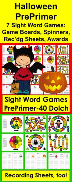 Halloween Activities for Kids: Kindergarten Sight Word Game Boards, Spinners, Recording Sheets & Awards