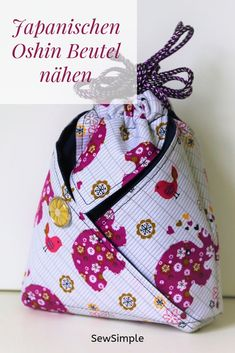 Most current Totally Free Sewing for beginners easy Thoughts Einfach raffiniert: Japanischen Oshin Beutel nähen Easy Sewing Projects, Sewing Projects For Beginners, Sewing Hacks, Sewing Tutorials, Sewing Tips, Sewing Patterns Free, Free Sewing, Japanese Bag, Leftover Fabric