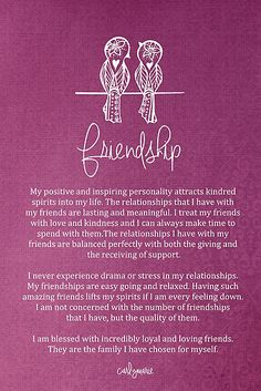 Affirmation - Friendship by CarlyMarie 😍 Positive Mind, Positive Thoughts, Positive Vibes, Healing Affirmations, Positive Affirmations, Mantra, Inspirierender Text, Motivational Quotes, Inspirational Quotes
