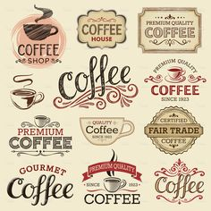 Hand Drawn Vintage Coffee Labels stock vector art 21417012 - iStock