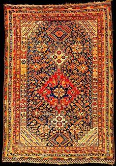 Qashqai Rugs: Caucasian Rosette Qashqai Rug Fars Province Lot 588