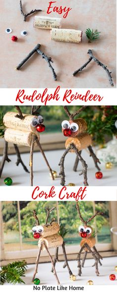 This Easy Rudolph Reindeer Cork Craft is a fun DIY Christmas Craft to make with your kids this holiday season. It's a cheap and easy craft to use up wine corks you've been saving. Pin for later!