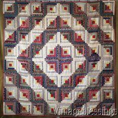 Fantastic Fabrics! Antique c1880 Log Cabin QUILT Never Used BARN RAISING www.Vintageblessings.com