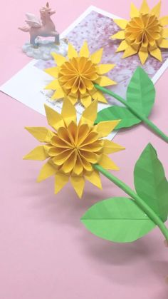 Instruções Origami, Cute Origami, Paper Crafts Origami, Easy Paper Crafts, Origami Videos, Origami Boxes, Dollar Origami, Origami Bookmark, Paper Sunflowers