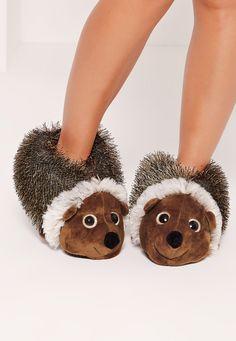 Hedgehog Slippers Brown - Missguided