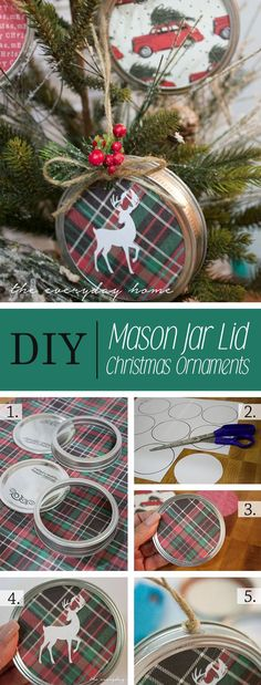 21 Trendy Ideas For Diy Christmas Decorations Recycled Mason Jars Pot Mason, Mason Jar Flowers, Mason Jar Lids, Diy Flowers, Mason Jar Projects, Mason Jar Crafts, Jar Lid Crafts, Diy Hanging Shelves, Diy Home Decor Projects