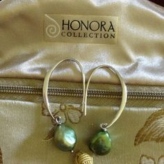 Honora cultured pearl earrings dark olive green Real cultured pearls. Honora brand. Loop through your ears and dress up or down. Interesting olive green. Honora Jewelry Earrings