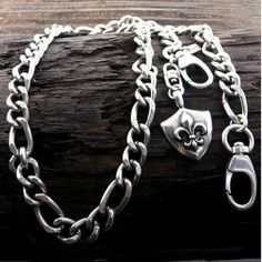 "Amazon.com: Designer Inspired Silver Stainless Steel Women or Mens Necklace, 30"" Mens Stainless Steel Jeans Chain - Fleur De Lis Shield Charm: Jewelry"