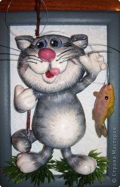 Картина панно рисунок Лепка Ещё коты и кошки Тесто соленое фото 10