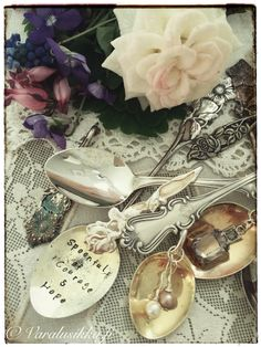 Spoonful of Courage and Hope. Beautiful hand made spoon jewelry on www. Beautiful Hands, Beautiful Pictures, Spoon Jewelry, Altered Art, Jewelry Making, Romantic, Jewellery, Handmade, Vintage