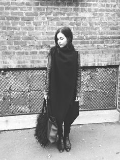 murmaiderr:  ovate: - Asymmetry is really hard to pattern, but I'm excited for the challenge.  Me, wearing Ovate Boiled Wool Wrap and Emeline oversized leather and fur bag. On a side note, I've started a personal t...