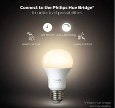 Price: (as of - Details) From sunrise to sunset, the Philips Hue White Dimmable LED Smart Bulb changes how you light your moments at home. Automate your lighting experience with Philips Hue and Best Home Automation, Home Automation System, Smart Garage Door Opener, Best Smart Home, Smartphone, Philips Hue, Smart Home Technology, Starter Set, Works With Alexa