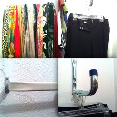 Scarf Rod - actually one of those super cheap curtain rods. this thingamajig at Lowe's in the garage and closet organization section. No clue what it is really for, but it's sturdy enough and long enough to hold at least 10 pairs of pants.