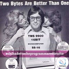 Due morsi sono meglio di uno!  Lo stile geek, si sa, ha sempre appassionato e fatto tendenza, come dimostrano gli occhialoni che sono con prepotenza tornati di moda qualche anno fa.  Vi proponiamo oggi questa vecchia pubblicità degli anni '80 in cui il binomio mago del computer e ruba cuori viene rafforzato dal motto scelto per la locandina.   #geek #style #interlogica #trendesetter #pubblicità #locandina #anniottanta #chihadettocheprogrammareèbrutto
