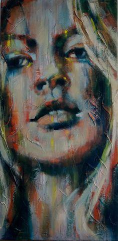 Kate Moss acryl & olieverf op doek 50x100cm