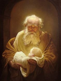 Simeon and Jesus. Painting by Russian artist Andrey Shishkin.except Jesus would have had dark hair and skin.but I love the look on Simeion's face. Catholic Art, Religious Art, Rembrandt, Images Bible, Image Jesus, Religion Catolica, Biblical Art, Bible Art, Lds Art