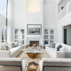 51+ Rustic Modern Farmhouse LIving Room Ideas -All white modern open concept living room with fireplace
