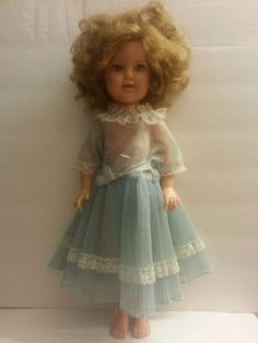VTG-1950-039-s-Ideal-Shirley-Temple-Doll-w-Flirty-Eyes-St-17-in-Blue-Dress