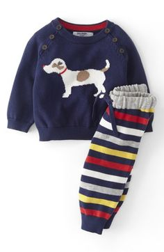Mini Boden Knit Sweater & Pants (Baby Boys) available at #Nordstrom