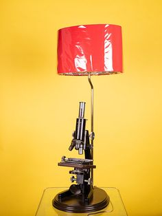 CONVERTED MICROSCOPE TABLE LAMP WITH RED SILK SHADE