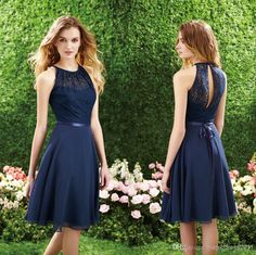 Wholesale 2014 Cheap for sale Elegant Dark Navy Lace Bridesmaid Dresses Short Maid of Honor A-Line Crew Pleated Ribbon Knee-Length Formal Gwon, Free shipping, $71.32/Piece | DHgate Mobile