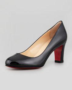 Christian Louboutin Mistica Low-Heel Red Sole Pump, Black