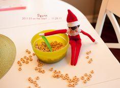 Elf on the Shelf gets into Cheerios!