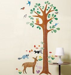 woodland animals growth chart wall stickers