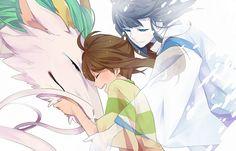 Haku and Chihiro - Spirited Away - Studio Ghibli / Hayao Miyazaki Hayao Miyazaki, Art Studio Ghibli, Studio Ghibli Movies, Awesome Anime, Anime Love, Totoro, Vocaloid, Manga Couples, Spirited Away Haku