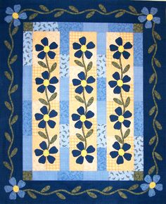 From book Fast Fusible Flower Quilts by Nancy Mahoney Girls Quilts, Blue Quilts, Small Quilts, Mini Quilts, Quilting Projects, Quilting Designs, Quilting Tutorials, Quilting Ideas, Flower Quilts