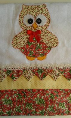 pano de prato c patch aplique, barrado e bico em dobradura tecido 100% algodão