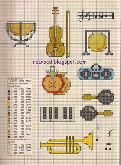 Cross Stitching, Cross Stitch Embroidery, Embroidery Patterns, Cross Stitch Patterns, Cross Stitch Music, Mini Cross Stitch, Crochet Music, Pixel Art Grid, Plastic Canvas Patterns