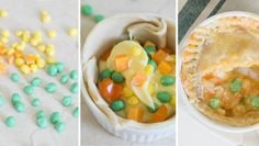 The best April Fools' prank of all. These aren't pot pies for dinner – they're sweet dessert pies made of pudding and candies!