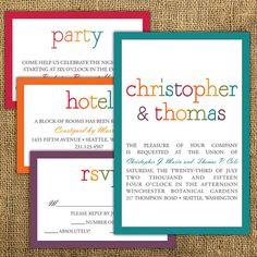 modern rainbow wedding invitation with chevronnotedoccasions, invitation samples