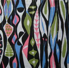 """""""Bulbous"""" fabric designed by Swedish designer Stig Lindberg (1916-1982)"""