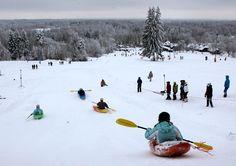 Who knew snow kayaki