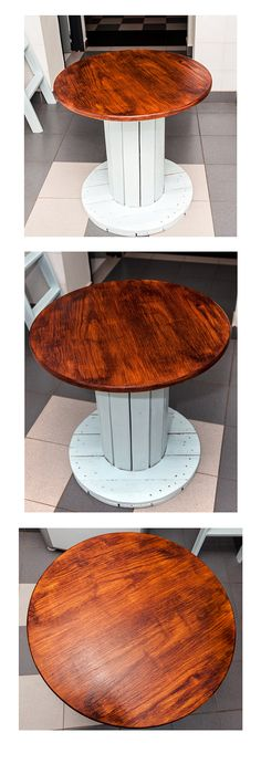 Table made with cable roll of wood Homework Table, Cable Spools, Wire Spool, Wood Tables, Cable Wire, Repurposed Furniture, Sheds, Coffee Tables, Home Projects