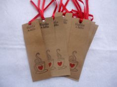 Handmade Stamped Housewarming / Tea Party Cardboard Bookmarks  10 pcs. by ChicEventsDecor on Etsy
