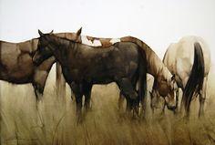 Grazing Herd by Joseph Alleman, Watercolor, 20 x 28 Watercolor Horse, Watercolor Animals, Watercolor Landscape, Watercolor Paintings, Watercolors, Watercolor Techniques, Landscape Art, Mediums Of Art, Rabbit Art