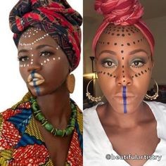 Pin for Later: 9 Tribal Makeup Tutorials That Honor the Beauty of African Culture Maroon-Jamaican High-Fashion Tutorial African Tribal Makeup, Tribal African, African Tribes, African Women, African Beauty, Afro Punk, African Face Paint, Tribal Face Paints, Coachella Makeup
