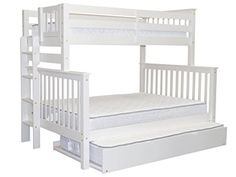 Bedz King Mission Style Bunk Bed Twin over Full with End Ladder and a Twin Trundle White >>> Read more at the image link. (This is an affiliate link)