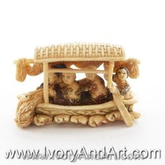 Mammoth Ivory Netsuke - The Fisherman Family in a Boat